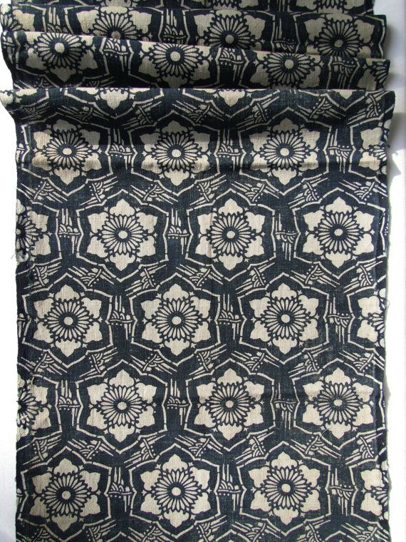 """""""Japanese textile - Katazome is a traditional Japanese dye technique using a katagami stencil and flour and water resist paste. Around 100 years old, this Meiji / Taisho era textile is covered with geometric flowers framed in bamboo."""""""