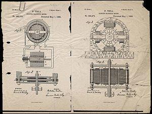Nikola Tesla's Magnetic Motor Patent 1888 Art Print by Paulette B Wright