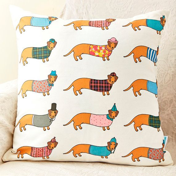 Larry the Long Dog Pattern Cushion by MaryKilvert on Etsy