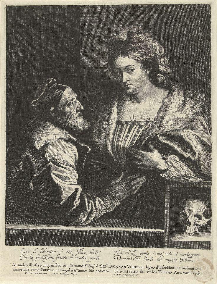 Anthony van Dyck | Titiaan en zijn maitresse, Anthony van Dyck, Lucas Vorsterman (I), Titiaan, 1627 - 1644 | Kopie naar zelfportret van Titiaan met een jonge vrouw. Rechtsonder een doodshoofd. het schilderij van titiaan is verloren gegaan, door de ets van Van Dyck weten we hoe het portret er uitzag. Onder het portret staat een dedicatie aan de handelaar en kunstliefhebber Lucas van Uffel en een Italiaans gedicht.