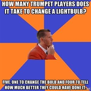 how many trumpet players does it take to change a lightbulb five one to change the bulb and. Black Bedroom Furniture Sets. Home Design Ideas