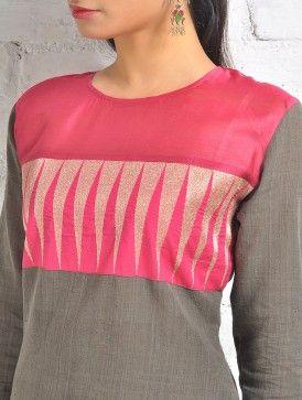 Malkha Kurta  - Grey With Pink Temple Zari And Chanderi Panel
