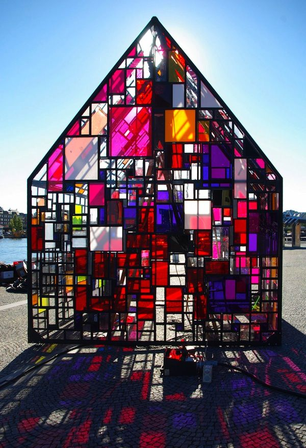 Sculptured shed made from salvaged plexiglass and steel