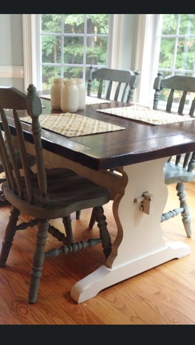 Annie Sloan Chalk Painted Kitchen Table And Chairs Old White Clear Wax On
