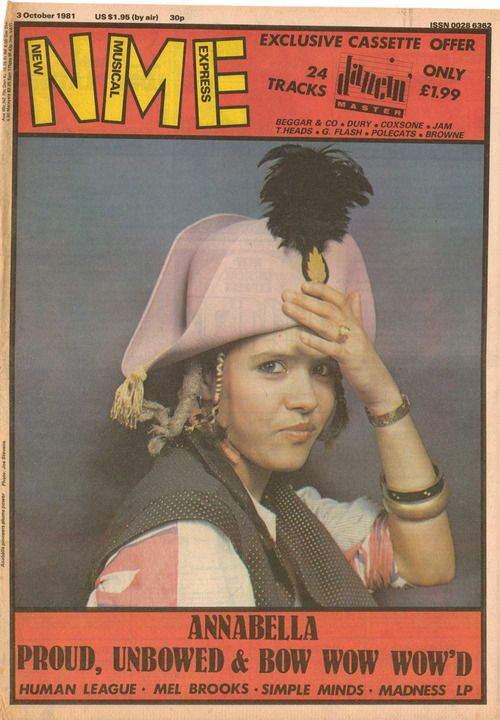 Annabella Lewin wearing Pirate hat, gold spot waistcoat and Apache top. Source: New Music Express, 3 rd October 191. Front cover. Photo by J...