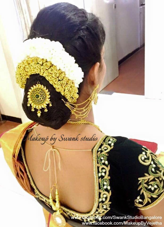 Wedding hairstyle inspiration. Hair bun accessory. Saree Blouse Design. Hair Accessories. Find us at https://www.facebook.com/SwankStudioBangalore