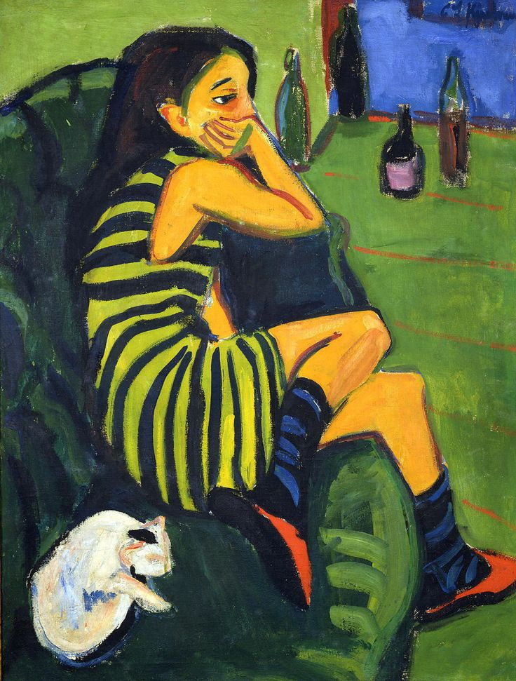 "Ernst Ludwig Kirchner (1880-1938), Artiste; Marcella, 1910, Oil on canvas, 101 x 76 cm, Brücke-Museum, Berlin. His work was branded as ""degenerate"" by the Nazis and in 1937 over 600 of his works were sold or destroyed. In 1938 he committed suicide by gunshot."