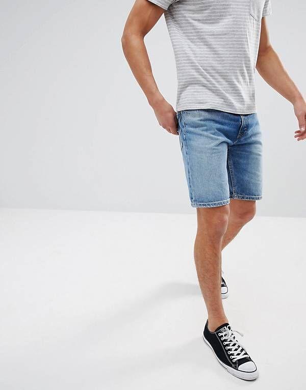 94e3b593 Levi's 502 Raw Hem Tapered Shorts Bob Midwash   Men's Blue Shorts in ...