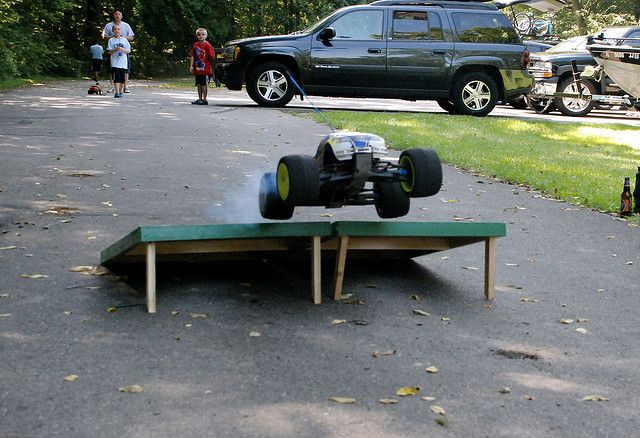 A gas powered remote controlled car + ramps made from a bags game = fun for all! Home Living readf more at home.forallup.com