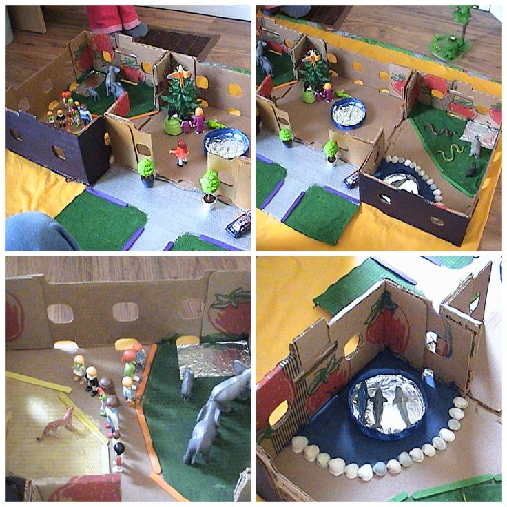 Make a play zoo!  Use a cardboard box as a base, paint different areas and decorate with found objects. Use plastic animals and then open your zoo for visitors (lego, playmobil, or other..).