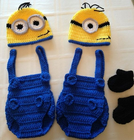 2 Minion Baby Photo Props for Twins Despicable Me on Etsy, $50.00
