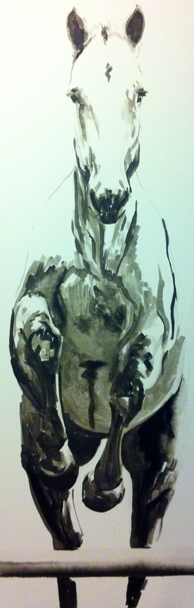 COCO private commission by jennifer mack 72x24 India Ink on Canvas SOLD www.jmackfineart.com