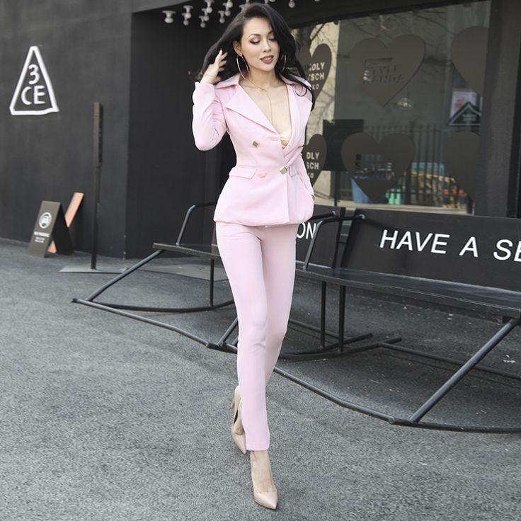 Очень Сексуальная Розовый Женщины Устанавливает Тонкий Тип Двубортный Топ и Брюки Дизайн Кнопки Карманы с Подплечники купить на AliExpress
