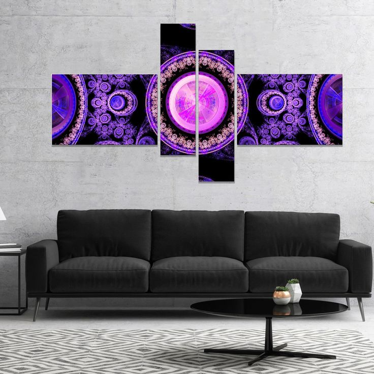Designart 'Purple Psychedelic Relaxing Art' Abstract Canvas Art Print