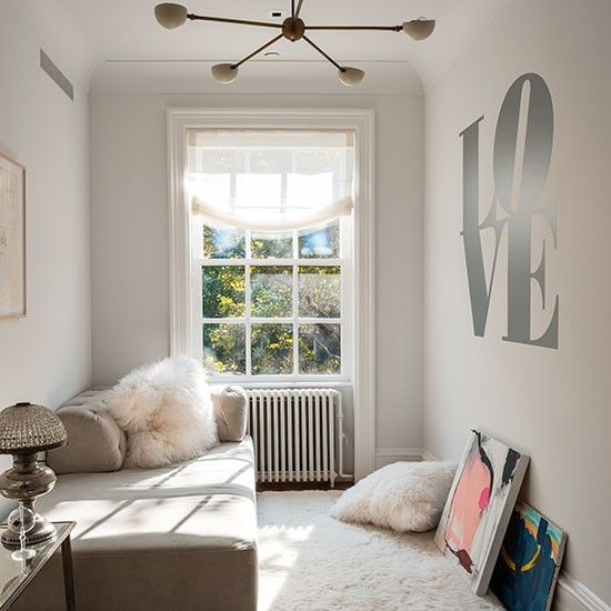 White bedroom with 'love' wall stencil | Decorating