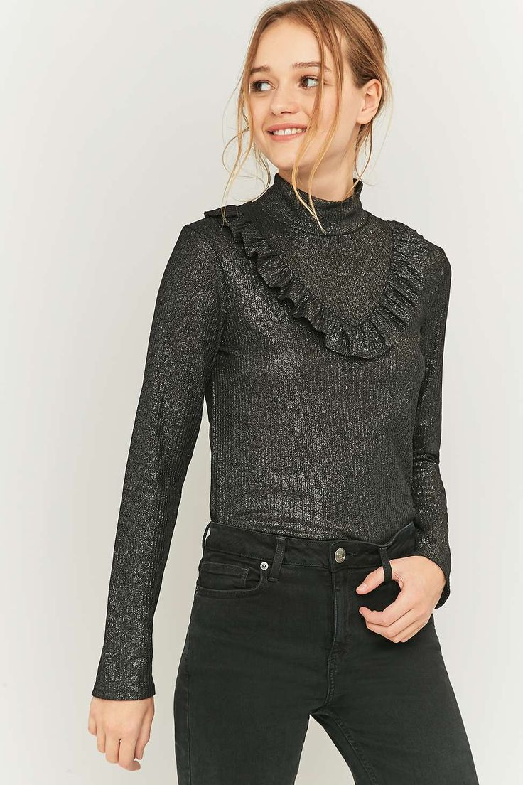 Sparkle & Fade Black Lurex Frill Knitted Turtleneck Top
