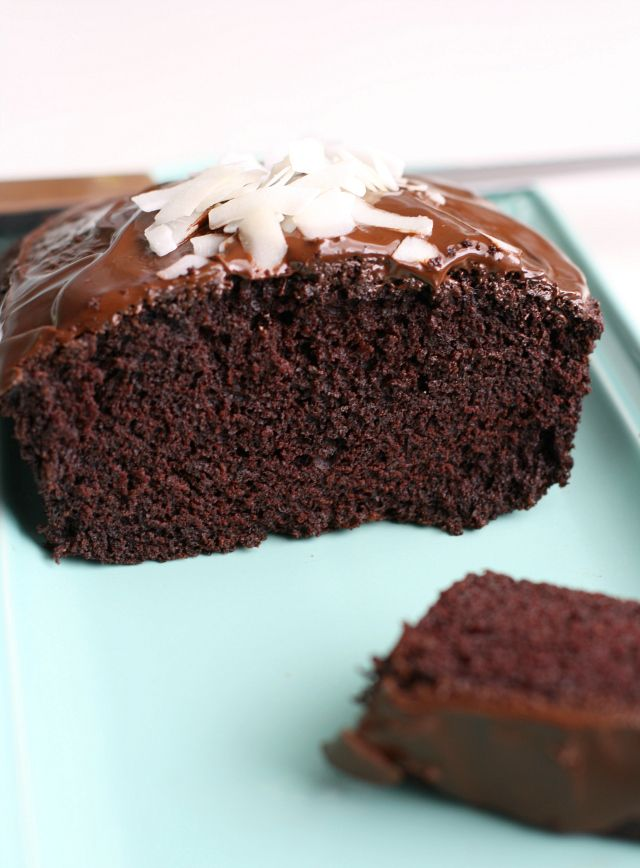 Delicious and rich vegan chocolate coconut cake.