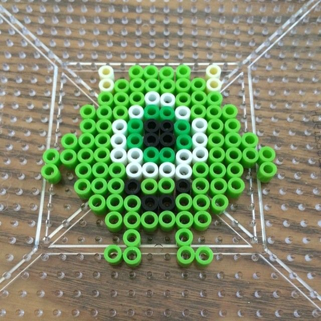 Baby Mike Wazowski perler beads by dinnercrewcrafts