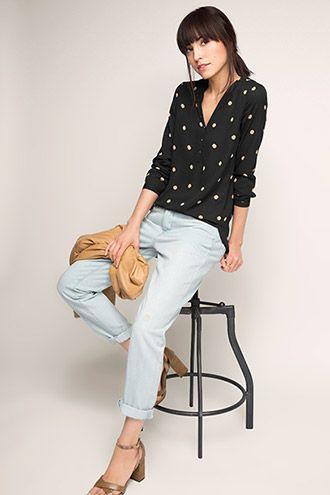Esprit / Fließende Crepe-Bluse mit Punkten