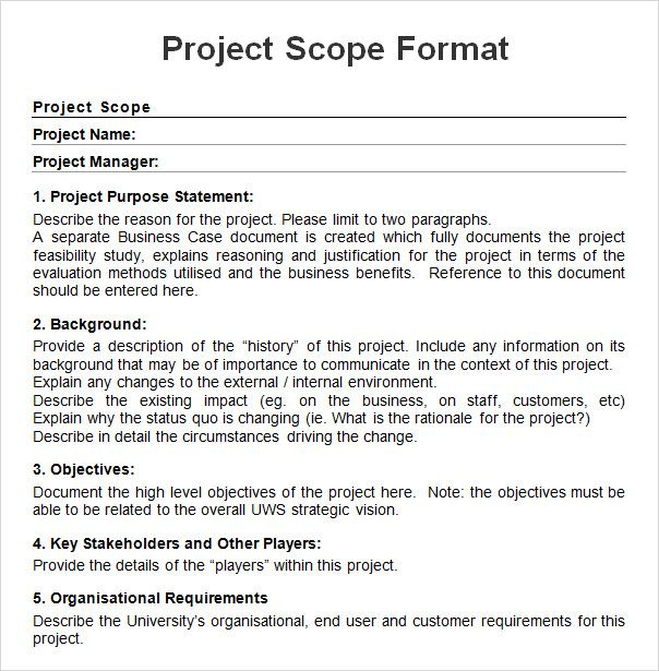 Project Scope Example Check More At Https
