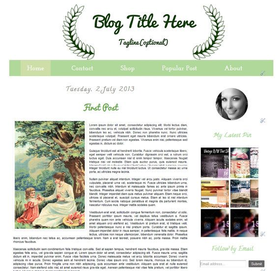 Dark Green  Premade Blogger Template   Instant by Symufathemes, $25.00