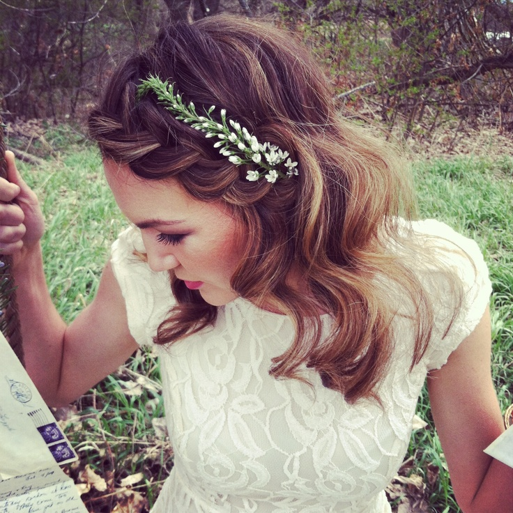 Wedding Hair.  Bridal Hair.  Braided halo.  Braided bang.