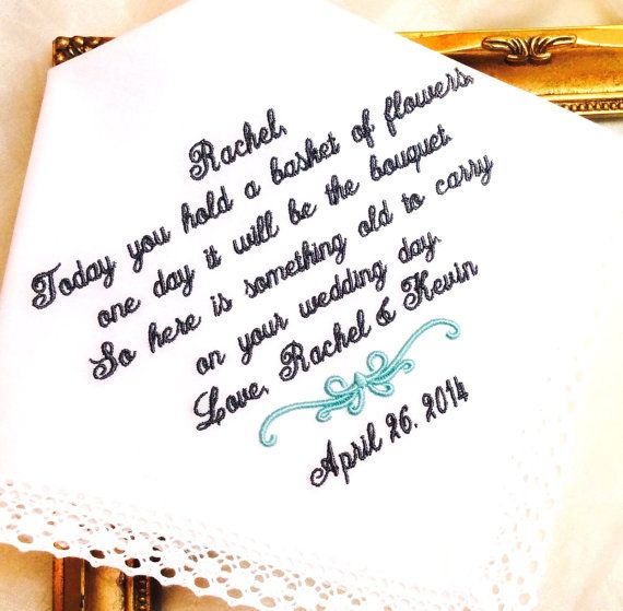 Flower Girl Handkerchief - Today you hold a BASKET OF FLOWERS - Something old  to Carry on your Wedding Day  - Hankie - Hanky  Handkerchief