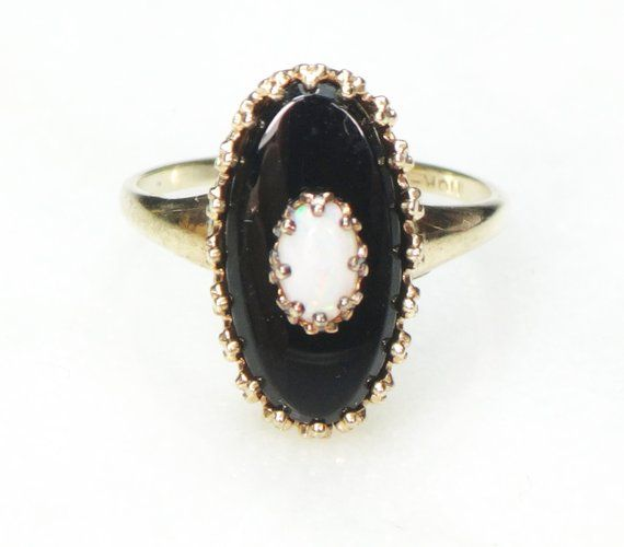 Vintage 10k Onyx Ring Black Onyx And Opal Ring Gold Ring Black Stone Ring Oval Onyx Vintage Yellow Gold Ring 1960 S Black Stone Ring Opal Ring Gold Black Rings