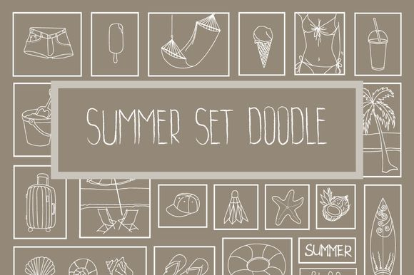 Summer set doodle by by masha on @creativemarket