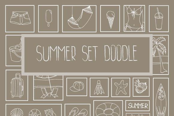Summer set doodle by by masha on @creativemarket