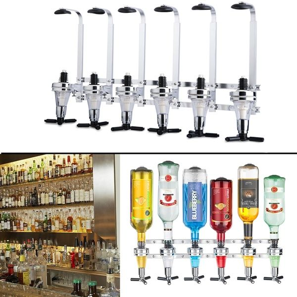 Wall Bracket 6-Station Liquor Dispenser Bar Butler Bottle Holder Stainless Steel