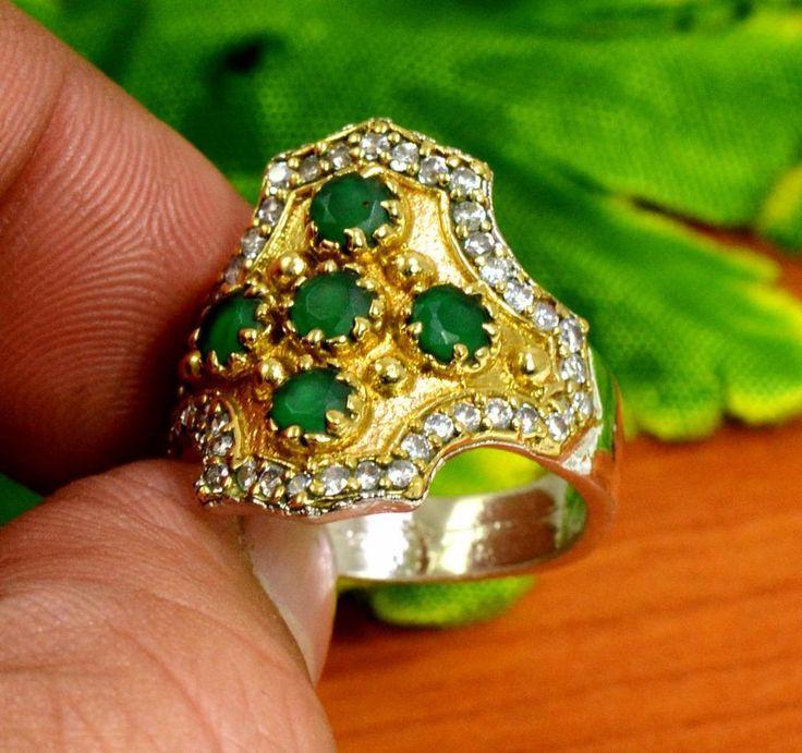 "Emerald Gemstone Turkish Victorian 925 Silver Plated Ring Size US 7 1/2"" R214 #krishnagemsnjewels #Solitaire"