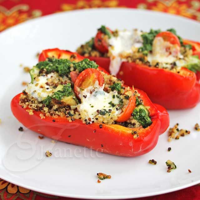 Stuffed Pepper with Quinoa, Grilled Vegetables, Caprese Salad and ...
