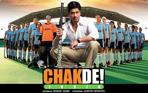 Chak De India...  The story of a shamed hockey player Kabir Khan (Shah Rukh Khan) who returns to the game as a coach of a women's hockey team.