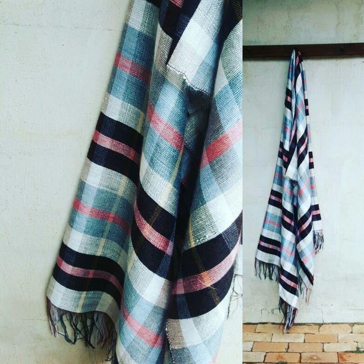 Plaid mohair blanket