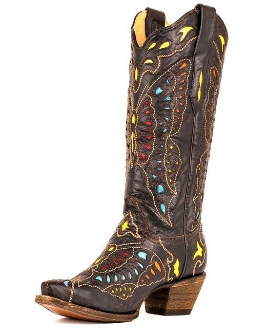 Corral Women's Yellow/Red/Turquoise Butterfly Cowgirl Boot http://www.