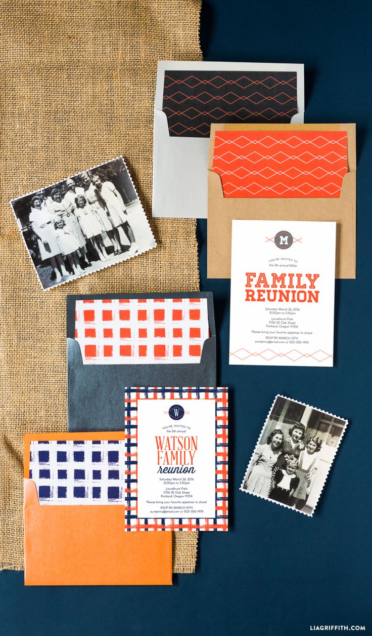 Use these printable family reunion invitations for your summer celebration! Design brought to you by the studio of handcrafting & DIY expert Lia Griffith.