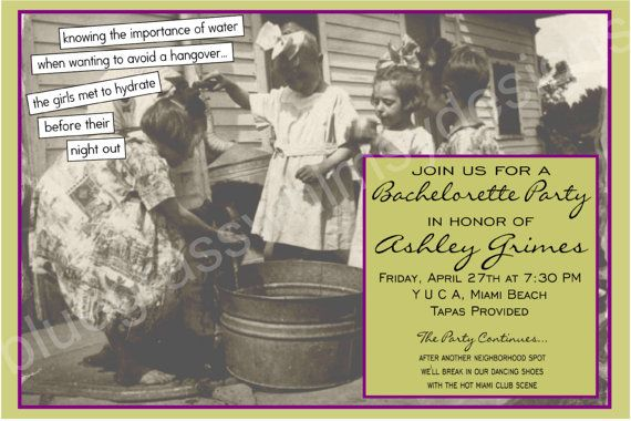 Vintage Bachelorette Party Invitation by BluegrassWhimsy on Etsy, $12.00