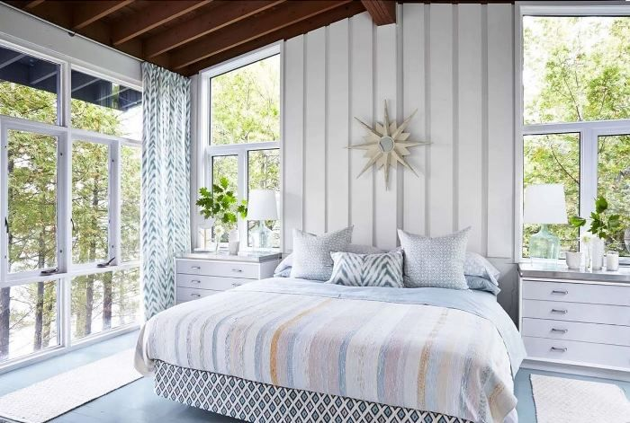 More window ideas to go with 1969 sloped ceilings.  Vacation in Designer, Sarah Richardson's Island Cottage, It's For Rent!