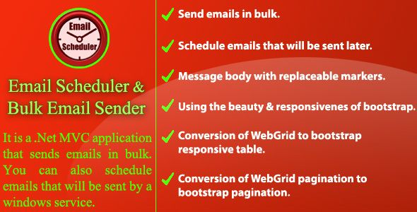 Download Free              Email Scheduler and Bulk Email Sender            #               bulk email sender #email scheduler #email scheduler with markers #email scheduler with mvc #email scheduler with windows service #email sender #mvc bootstrap forms template #send emails