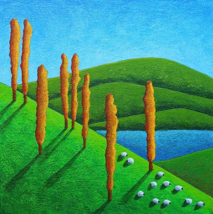 Patagonia Sur de Chile. Acrílico sobre tela. sheep / painting / Art #danielponce #trazosdesol