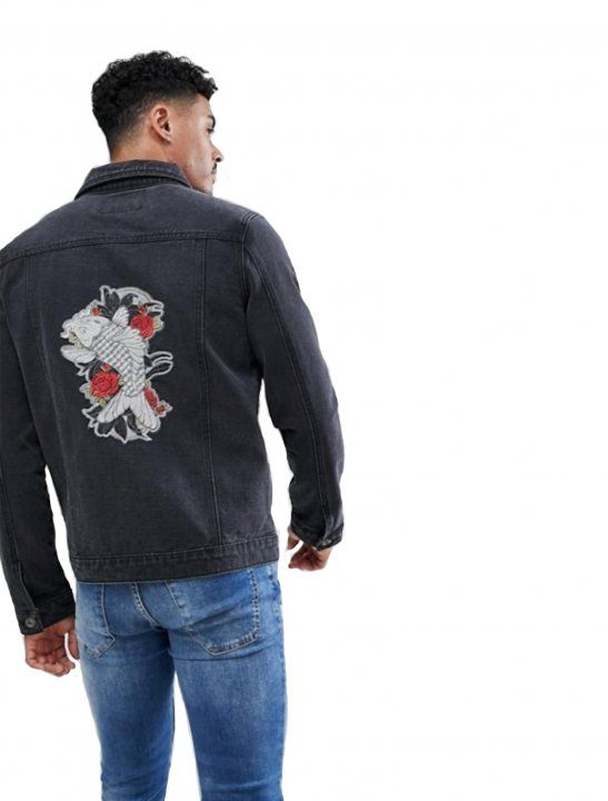 Shop the latest Liquor N Poker Embroidered Koi And Crane Denim Jacket trends with ASOS! Free delivery and returns (Ts&Cs apply), order today! Koi, Latest Fashion, Mens Fashion, Fashion Trends, Embroidered Denim Jacket, Poker, Bomber Jacket, Trousers, T Shirt