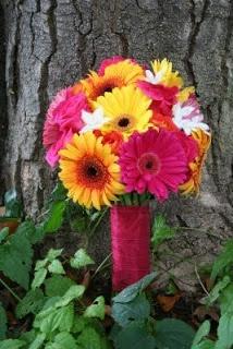 Colorful Gerbera Wedding Bouquets