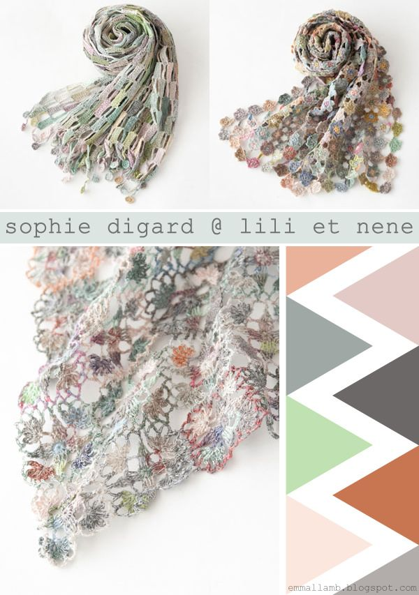 "sophie digard crochet Link Love for Best Crochet Patterns, Ideas and News   Great color samples along side the sophie scarves.  For DIYers this is a good tool to help reign in all those colors choices and stick to a ""palette""."