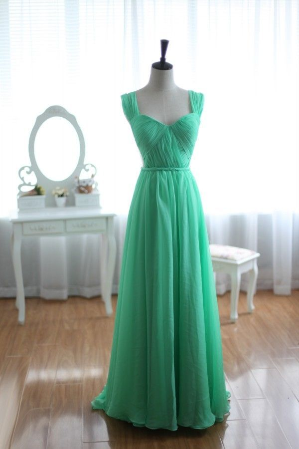 Green Chiffon Bridesmaid Dress Prom Dress Open Back Party Dress