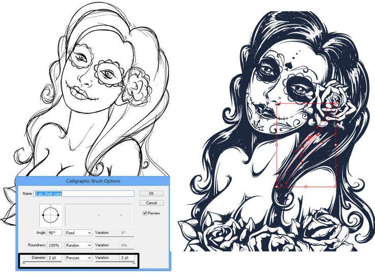 ilustración de una mujer estilo tatuaje grunge
