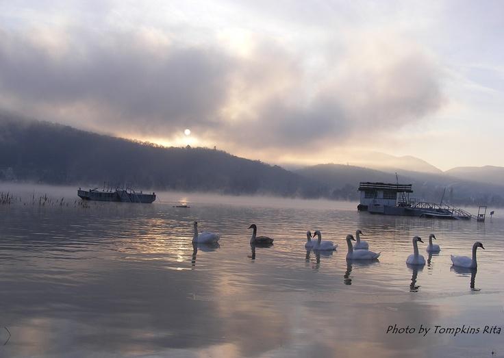 Sunrise over the River Danube in January