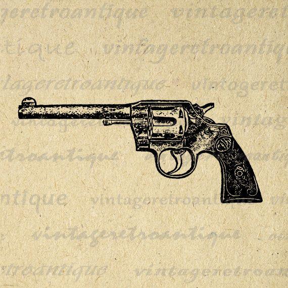 printable digital gun revolver graphic western image illustration download vintage clip art. Black Bedroom Furniture Sets. Home Design Ideas