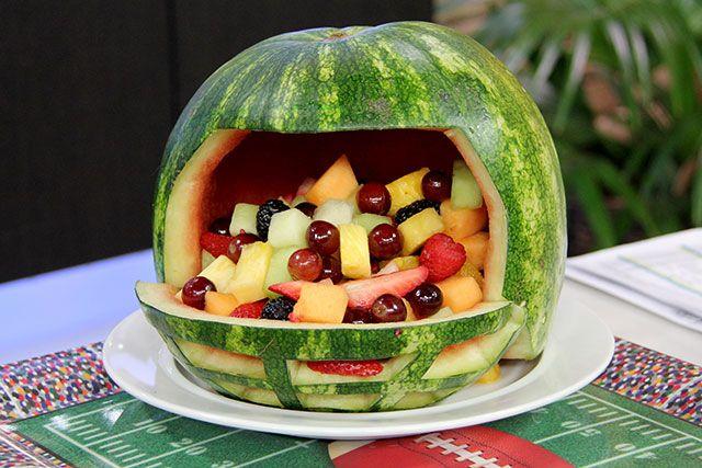 Superbowl Party Nfl Watermelon Fruit Bowl With Yogurt