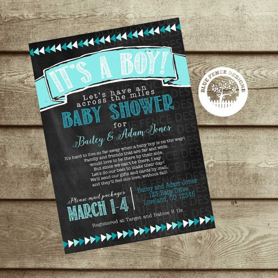 Baby shower by mail invite baby boy, Long distance shower baby boy invitations, military baby shower, state to state virtual baby shower